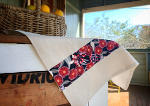 Linen tea towel with Australian homestead influence. Trimmed with gumnut indigenous or Australian art