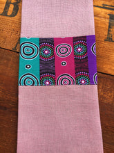 Load image into Gallery viewer, Linen tea towel, indigenous design tea towel, Australian Aboriginal artist, Desert Flowers by Marie E, Ellis on dusty pink linen