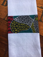 Load image into Gallery viewer, Linen tea towel, indigenous design tea towel, Australian Aboriginal artist, Bush Coconut Dreaming by Audrey Martin on white linen