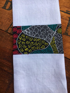 Linen tea towel, indigenous design tea towel, Australian Aboriginal artist, Bush Coconut Dreaming by Audrey Martin on white linen