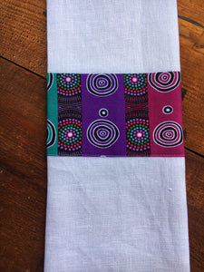 Linen tea towel, indigenous design tea towel, Australian Aboriginal artist, Desert Flowers by Marie E, Ellis on white linen