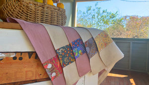 Linen tea towel with Australian homestead influence. Trimmed with indigenous and australian art.