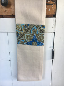 100% linen tea towel, beige with blue symphony trim, homewares, tableware, kitchen. Great for drying glasses fluff free and looks good enough to take to the table when entertaining.