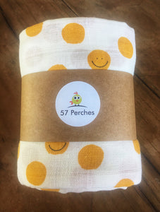 Baby Double Muslin Wrap - Smiles