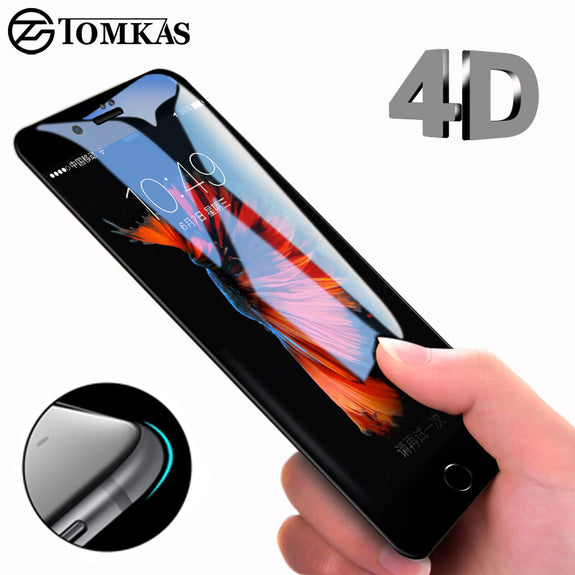 57fd8604b4 4D Round Curved Edge Tempered Glass For iPhone 6 6s Plus 7 8 X Full Cover  Protective Premium 4D Screen Protector TOMKAS