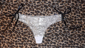 "Luxury Crystal Diamond ""Bombshell"" Thong Style With Black Ribbons"