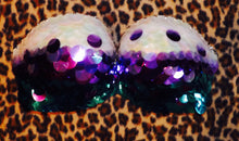 "Purple Teal Iridescent & Crystal Sequin ""Mermaid "" White Strapless Style"