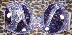 "Violet Amethyst Purple Shells & Diamonds ""Mermaid"" Strapless Style"