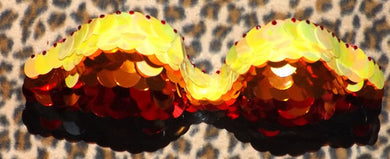 Orange Yellow Red & Crystal Sequin