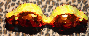 "Orange Yellow Red & Crystal Sequin ""Dragon Slayer"" Strapless Style"