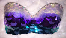 "Purple Teal Iridescent & Crystal Sequin ""Mermaid "" Strapless Style"