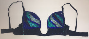 "Blue Mix Diamonds ""Fantasy"" Swirls Plunge V Style With Bling Straps"