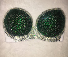 "Emerald Green & Crystal Diamonds ""Casino"" Strapless Bralet Style"