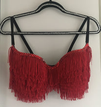 "Dark Red Fringe Tassel & Crystal  Diamonds ""Shake It""  T-Shirt Style"