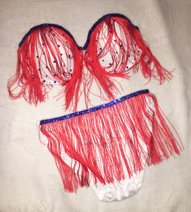 "Red Fringe & Sapphire Blue Crystal  ""Rodeo"" Mini Style"