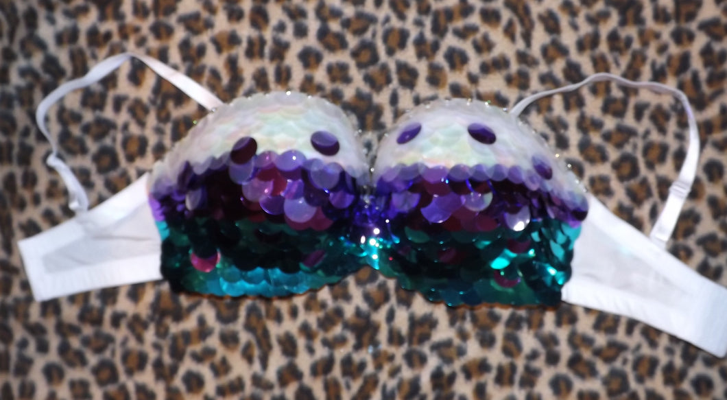 Purple Teal Iridescent & Crystal Sequin