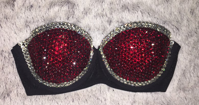 Dark Siam Red & Crystal Diamonds