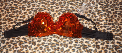 Orange & Crystal Sequin
