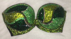 "Emerald Peridot AB & Olive Green Diamonds ""Fantasy"" Strapless Style"