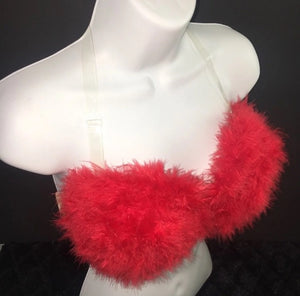 "Red ""Whipped"" Feathers Strapless Style"