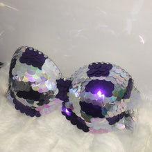 "Violet Purple & Silver & Crystal Sequin ""Dragon Slayer"" Strapless Style"
