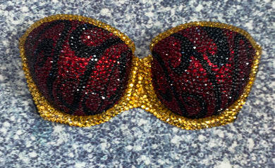 Dark Siam Red Gold & Black Diamonds