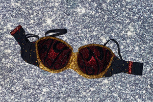 "Dark Siam Red Gold & Black Diamonds"" Vintage Fantasy"" Strapless Style"