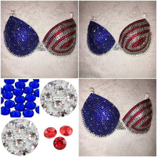"Light Siam Red Crystal & Sapphire Diamonds ""USA"" Flag White T-Shirt Style Two"