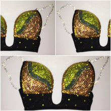 "Golden & Yellow Fantasy Swirls ""SuperStar"" Plunge V Style Bling Straps"