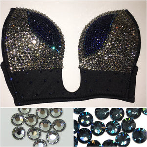 "Black Diamond & Montana Navy Blue ""SuperStar"" Plunge V Style & Bling Straps"