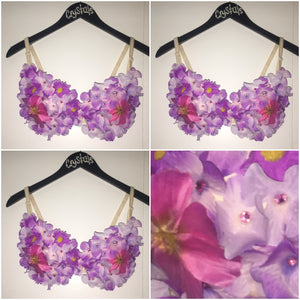 EDC Rave Flower Bra Festival Bra Custom Dance Bra Purple Bra