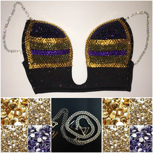 "Topaz 24K Golds & Purple Diamond ""Triple Threat"" Plunge V Style With Bling St"