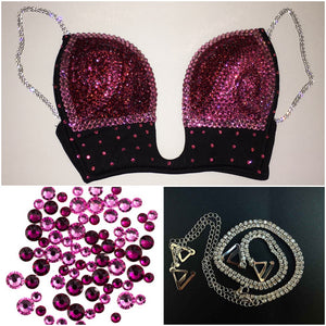 "Rose Pink & Light Rose Pink ""Fantasy Swirl"" Plunge V Style With Bling Straps"
