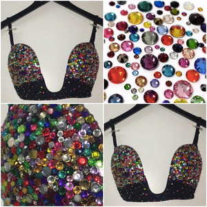 "Multi Colour Diamonds ""Mardi Gras"" Plunge V Style"