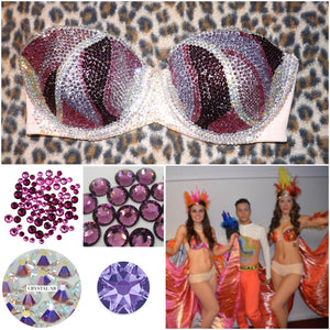 "Pink & Purple Tone Diamonds ""Rio"" Swirls Strapless Style Two"