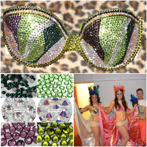 "Green & Purple Tone Diamonds ""Rio"" Swirls Strapless Style Two"
