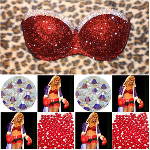 "Light Siam Red & AB Diamonds""Fancy"" Luxury Strapless Style"