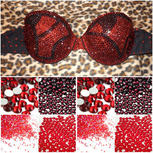 "Light Siam Red AB & Burgundy Diamonds""Fantasy"" Strapless Style"
