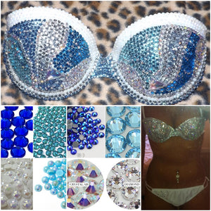 "Blue Diamond Mix Pearl & Crystal AB ""Mermaid"" White Strapless Style"