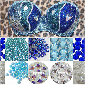 "Blue Diamond Mix Pearl & Crystal AB ""Mermaid"" Black Strapless Style"