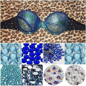 "Blue Mix Crystals & AB Diamonds ""Fantasy"" Black Strapless Style"