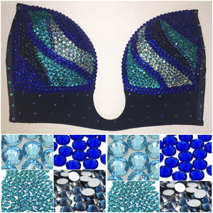 "Blue Mix Diamonds ""Fantasy"" Swirls Plunge V Style"