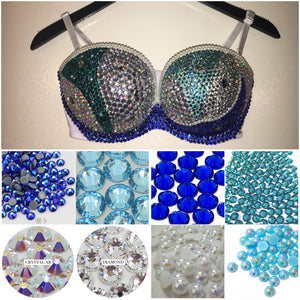 "Blue Tones Diamonds & Pearl Crystal AB ""Mermaid"" White Strapless Style"