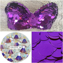"Purple  & Crystal AB Sequin ""Dragon Slayer"" Strapless Style"