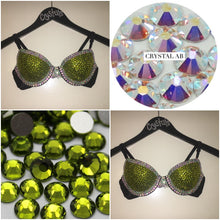 "Olive Green & Crystal AB Diamonds ""Casino"" T-Shirt Style Two"