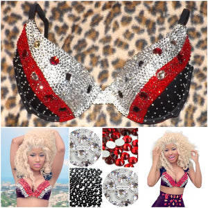 "Black Red & Crystal Diamonds ""Nicki"" Black T-Shirt Style"