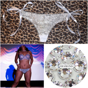 "Luxury Crystal Diamond ""Bombshell"" Thong Style With White Ribbons"