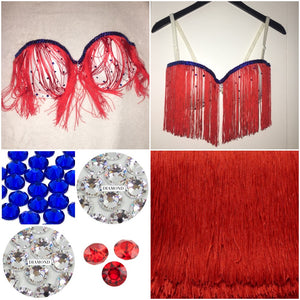 "Siam Red Crystal & Sapphire Diamonds ""Rodeo"" Flag White Strapless Style"
