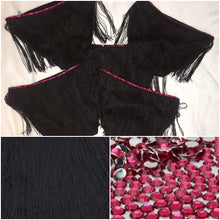 "Black Fringe & Rose Pink Crystal  ""Shake It"" Mini Style"