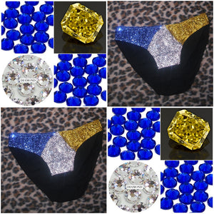 "Yellow Sapphire Blue Crystal & Jet Black ""St.Lucia Flag"" Mini Style"